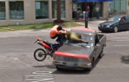 Google Street View immortalized in Mexico the exact moment of a traffic accident, with two biker flying over a pickup's hood