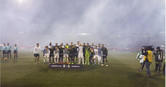 Mexico USA Soccer Players Unity