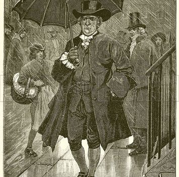 The first umbrella user in England had to put up with insults and pelted trash