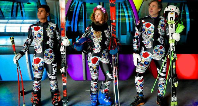 Mexican skiers and their flashy Day of Deads uniforms